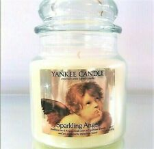 "Yankee Candle Retired ""SPARKLING ANGEL"" Medium 14.5 oz.~ WHITE LABEL ~ RARE~ NEW"