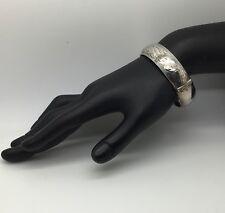 Burkhardt For Birks Sterling Silver Bangle Bracelet Floral Etched  Safety Chain