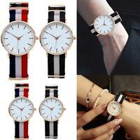 Newest Simple Watch  Nylon Strap Analog Quartz Stainless Steel Watch Fashion