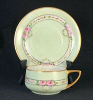 Antique Hand Painted Bavaria Fine China Teacup & Saucer Green w Roses Signed