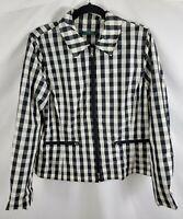 Lauren Ralph Lauren Full Zip Jacket Womens Size L Black Gingham Plaid Rain Wind