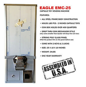 Eagle Cabinet 25 Inches 75¢ Capsule Toy Vending Machine (New ONE YEAR WARRANTY)