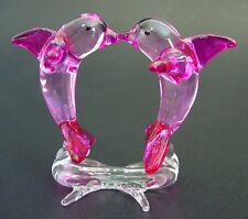 Verre Dauphin Ornement 2 Kissing DAUPHINS sur un support rose nageoires Queue & Flippers