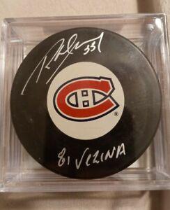 "Richard Sevigny Autographed Puck Canadiens ""81 Vezina"" Inscription"