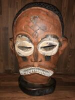 OLD / ANTIQUE CARVED CHOKWE MWANA PWO WOOD WOODEN MASK  ANGOLA AFRICA