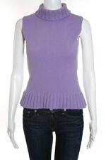 Miu Miu Light Purple Sleeveless Turtleneck Wool Sweater Top Size Italian 38
