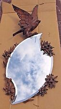 Antique Vintage Black Forest Beveled Mirror w/ 2 Tone Eagle in Flight (1149)