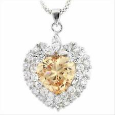 925 Silver Champagne & Clear CZ Heart Pendant, 18""