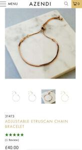 Azendi Adjustable Etruscan Chain Bracelet Rose Gold
