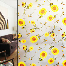 Opaque Frosted Window Films Static Cling Sunflower Stained Glass Stickers Decor