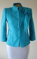 Zara Woman Jacket Size EU 38 UK 10 Turquoise Tailored Lined Raw Edge Applique