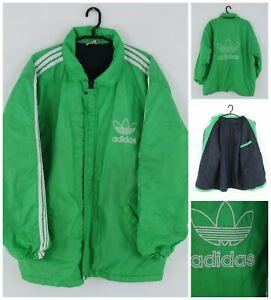 ADIDAS Vintage Mens Green 80 s 90s Lined Windbreaker Actiwear Jacket SIZE XXL