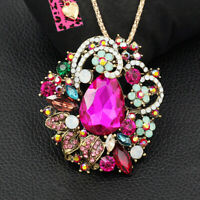 Betsey Johnson Color Crystal Rhinestone Flower Pendant Chain Necklace/Brooch Pin