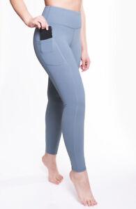 "Women Leggings High Waist True Teal Yoga Pants Tummy Control Pockets 28"" AZARMAN"