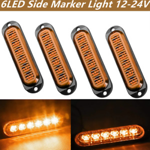 4pcs Yellow 6LED Side Marker Tail Light 12/24V Waterproof Trailer Truck Lamp