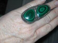 sz 9 massive old malachite ring 2 11/16 X 1 3/16  sterling silver pawn 26.9g