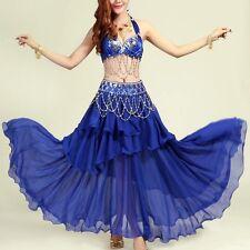 Belly Dance Costume Outfit Set Bra Top Belt Hip Scarf Skirt Dress Hollywood 3PCS