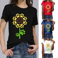 Women Plus Summer Sunflower Gesture Print Short Sleeve T-Shirt Tops Loose Blouse