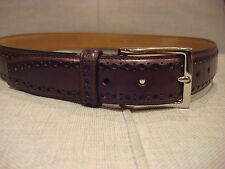 COLE HAAN 32MM FEATHER EDGE PERFORATED LEATHER CHOCOLATE BELT SIZE 40 - NEW