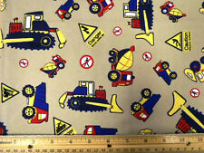 DIGGERS & LORRIES ON BEIGE- CHILDRENS 100% COTTON FABRIC F.Q.'S