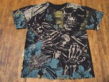 Miami Ink Graphic Skeleton W/ Flowers Print Black T Shirt Size L
