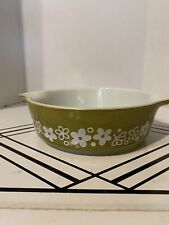Pyrex Crazy Daisy Green White Flowers 1 Qt 471 Oven Casserole Vintage Old