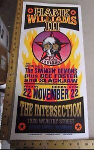 2002 Rock & Roll Concert Poster Hank Williams III Mark Arminski Signed