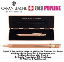 Caran Dache Brut Rose 849 Popline Blue Ballpoint Pen Metal Case 0849.997