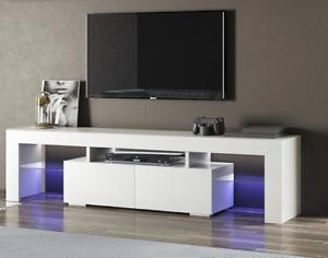 "TV Unit Cabinet Stand Modern Matt Finish Doors Storage 130cm 65"" LED Light Media"
