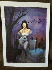 DON MARQUEZ original art Vampiress Vampire Signed 2015 Cemetary Bride of Dracula