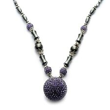 """Hematite and White and Purple Austrian Crystal Necklace - 22-24"""" in Silvertone"""