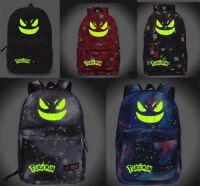 Pokemon Go Print Backpack School Bag Noctilucent Bag Gengar Face Shoulder Bag