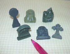 Miniature Set of 6 Detailed Grey Resin Tombstones: DOLLHOUSE Halloween 1:12