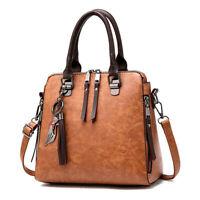Women Vintage Retro Oil Leather Handbag Lady Crossbody Bag Tote Shoulder