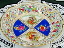 SCHUMANN DRESDEN RETICULATED COURTING COUPLE FLORAL BLUE BOWL