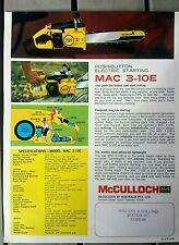 McCulloch 3-10E chainsaw advertising brochure. New old stock. nos rare vintage
