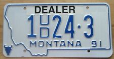 Montana 1991 SILVER BOW COUNTY USED CAR DEALER License Plate # 1 24-3