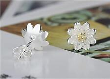 Shiny Gold & 925 Sterling Silver PL 2 Tone Cute Small Flower Stud Earrings Gift