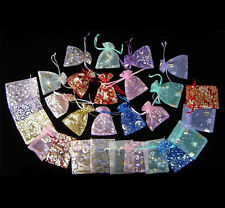 "100Pcs Mixed-Color Pattern Drawstring Organza Wedding Gift Pouch Bags 2.7x3.5"" g"