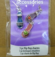 LOT of 6 Packages - Fashion Accessories 3-Piece Flip Flop Charms for Jewelry
