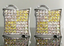 NEW!! $150 MENS CANARY YELLOW SIMULATED DIAMOND EARRINGS MICROPAVE HIP HOP BLING