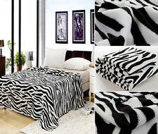 Zebra Black/White Blanket Bedding Throw Fleece Full Queen Soft New