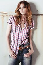 WRANGLER check grunge shirt camicia camicetta donna quadri scozzese S M BNWT
