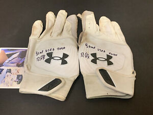 Robert Puason Oakland A's Signed 2020 Game Used Batting Gloves White ~