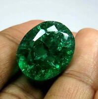 18.15 Ct Natural Beautiful Oval Cut Colombian Green Emerald Loose Gemstone