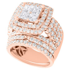 14K Rose Real Gold Diamond Bridal Set Engagement Ring + Wedding Band Halo 4 CT