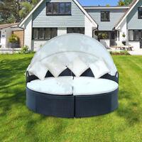 Sonneninsel Lounge Poly  Rattan Sonnenliege Sitzgruppe Gartenmöbel Liege Ø180cm