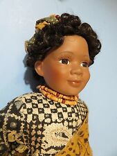"Senegal Senegalese girl porcelain & cloth West Africa  15"" Ethnic African Black"