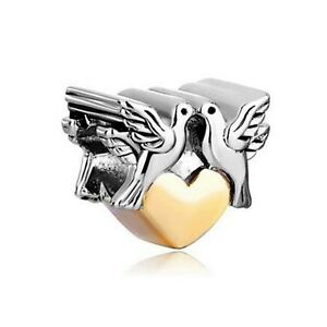 Silver & Gold Plated Love Doves Charm Fit For European Charm Bracelets