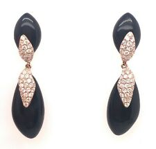 Onix and Diamonds Earrings - Rose Gold 18kt